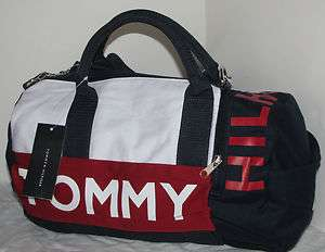 NWT auth. Tommy Hilfiger unisex small duffle gym travel bag PINK, BLUE
