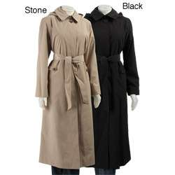 London Fog Womens Hooded Long Trench Coat with Liner