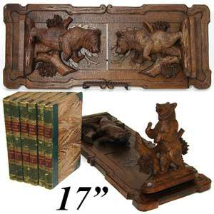 Superb Antique Black Forest Hand Carved Desk Top Book Rack, Two Bear