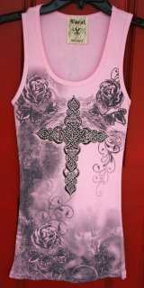 VOCAL PINK WESTERN CRYSTAL CROSS FLORAL Tank Top HOT