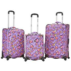 Rockland Deluxe 3 piece Love Hearts Spinner Luggage Set