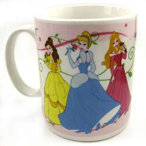 Disney Princess mug, featuring Aurora, Cinderella, and Belle dancing