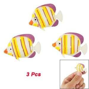 Pcs Auqarium Yellow Orange Striped Plastic Fish Decor