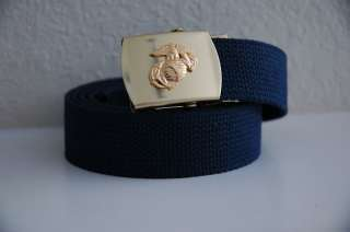 USMC Eagle Globe Anchor LOGO Blue Belt & Buckle