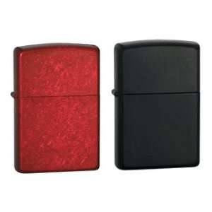 Zippo Lighter Set   Candy Apple Red and Licorice Candy Black Pack of 2