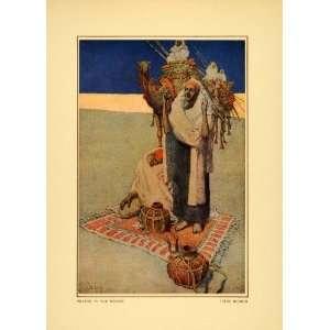 1914 Jules Guerin Prayer Rug Man Praying Desert Camel