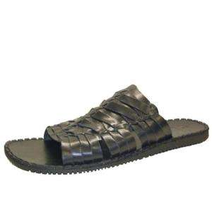 GBX 167441 Mens Woven Leather Casual Sandal Black