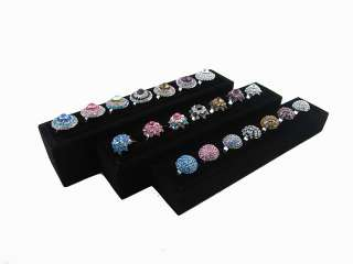 TIER BLACK VELVET RING JEWELRY DISPLAY STANDS CASES