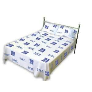 Duke Blue Devils White Sheet Set  King Bed  Sports