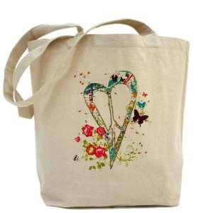 Tote Bag Flowered Butterfly Heart Peace Symbol Sign