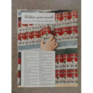 Campbells Soup,Vintage 30s full page print ad (every kind of soup