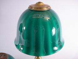 Two Emeralite Jr. Desk Lamps w/Green Cased Glass Shades + 3rd Spare