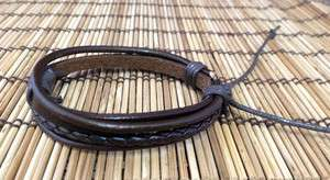 Man New Hemp Surfer Tribal Multi Strand Leather Bracelet