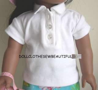 DOLL CLOTHES fits American Girl White Polo Tee Shirt