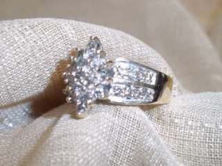 10k yellow gold diamond cluster ring .75 ct sz 7