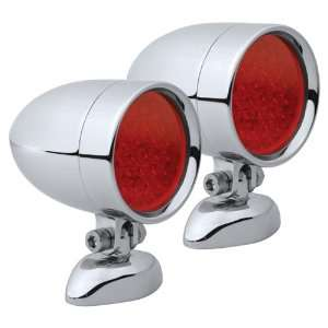 Diamond Mount Smooth Chrome Target LED Motorcycle Bullet Light   Pair