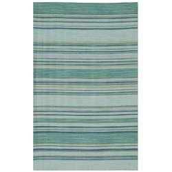 Flat Weave Green/ Blue Striped Wool Rug (9 x 12)