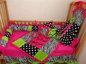 Pc Hot pink/lime/ zebra/dot Baby bedding