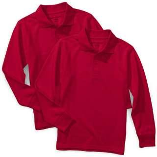 Glory   Boys School Uniform Long Sleeve Polo Shirts, 2 Pack Boys