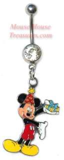 DISNEY BIRTHDAY MICKEY MOUSE DANGLE NAVEL BELLY RINGS