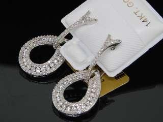 LADIES WHITE GOLD 1.2C DIAMOND ROUND DANGLE EARRINGS