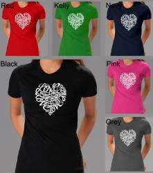 Los Angeles Pop Art Womens Cursive Heart T shirt