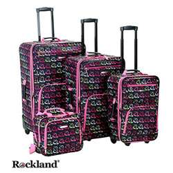 Rockland Hearts 4 piece Expandable Luggage Set