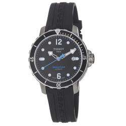 Tissot Mens Seastar Black Dial Black Silicone Strap Watch