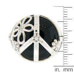 Leigh Sterling Silver Onyx and Diamond Peace Sign Ring