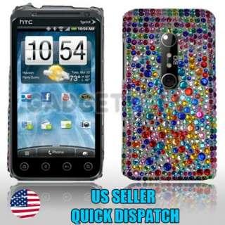 FOR HTC EVO 3D SPRINT MULTI COLOR DOTS DIAMOND BLING JEWEL PHONE CASE