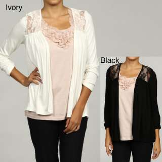 Sweet Romeo Womens Lace Inset Open front Cardigan FINAL SALE