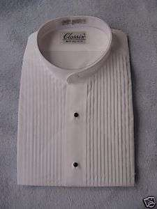 CLASSIX MENS MANDARIN TUXEDO SHIRT WHITE PLEAT XL 32 33