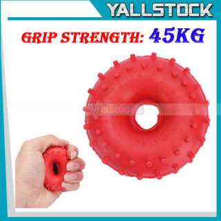New Rubber Grip Hand Gripper Device Ring Grip Strength 45Kg Red Free