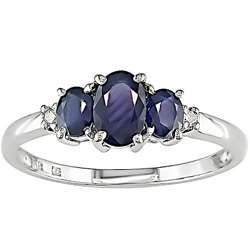 10k White Gold Blue Sapphire and Diamond 3 stone Ring