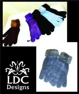 Faux Fur / Chenille Stretch Winter Gloves   6 Colors