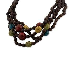 Gold tone & Multi Colored Natural Wood Layered Necklace Jewelry