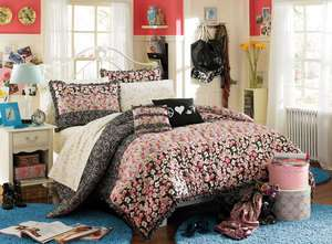 Harlow Comforter Twin 7pc Black White Pink Floral Girls Teen Dorm