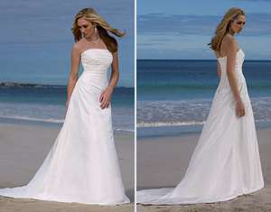 Glamorous strapless Beach Chiffon Wedding Dress Bride