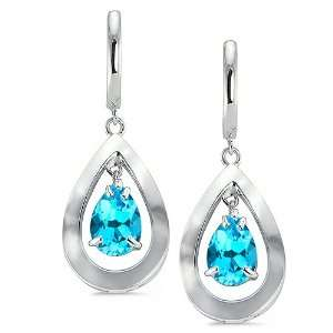 Pear Shaped Earrings With 9 MM Genuine Pear Cut Blue Topaz