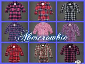 Womens Abercrombie Plaid Flannel Button Shirts XS,S,M,L