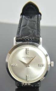 14K White Gold Diamond Round Face Mens Mechanical Wrist Watch