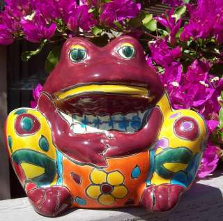 Pottery Talavera Planter hand painted small flower pot FROG+ Italy CD