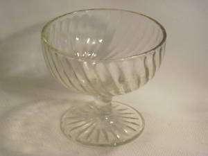 Swirl Clear Glass Sherbet Stem Foot Berry Dish Bowl 3