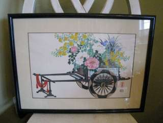 Uchida Woodblock Japan Framed Print Flower Cart Signed