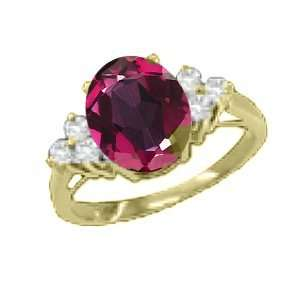 0.92 Ct Oval Red Mystic Topaz Diamond Yellow Gold Ring Jewelry