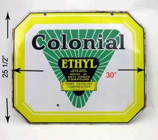 Gas Ethyl Gasoline Corp Two 2 Sided Porcelain Sign Oil Petroliana Pump
