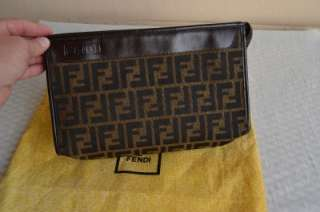 Auth Vintage Fendi Monogram Calf Clutch Purse Bag Absolutely Perfect