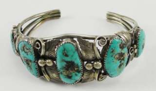 Sterling Silver Bracelet Cuff Turquoise Raw Handmade
