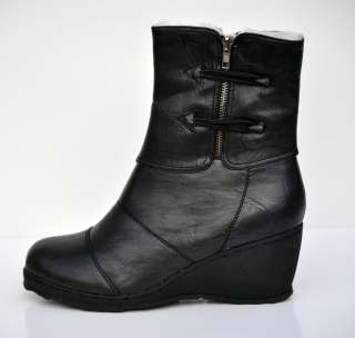 Shoes Black 9 Wedge Heel Faux Fur Lining Zipper Warm sizes