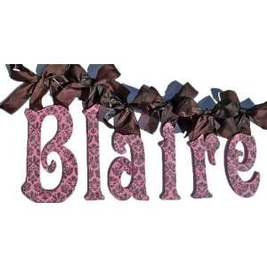 Hot Pink & Brown Damask Glitter Wall Letters Baby